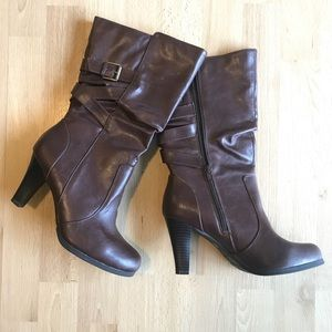 a.n.a. Vegan Leather Brown Heeled Boots